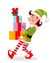 Merry Christmas. Funny Elf Carries Gift Boxes