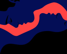 Profiles Of A Man And A Woman. Lovers. Romantic Date. Love. Close Relationship In A Married Couple. Illustration For Valentine Day