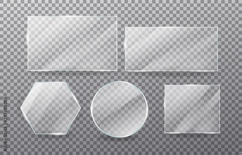 Fototapety, obrazy: Realistic transparent glass window set. Collection of Glass plates on transparent background. Acrylic and glass texture with glares and light.  Rectangle frame. Vector.