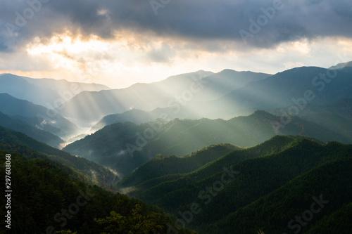 奈良 野迫川村の雲海と光芒 秋の景色 Canvas Print