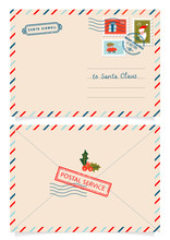 Letter To Santa Claus With Stamps And Postage Marks. Dear Santa Claus Mail Envelope. Christmas Surprise Letter, Child Postcard With North Pole Postmark Cachet. Postage Surprised Correspondence
