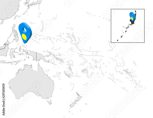 Location Map of  Palau on map Oceania and Australia Wallpaper Mural