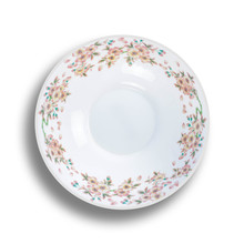 Plate With A Picture Of Flowers. Close Up. Isolated On White Background