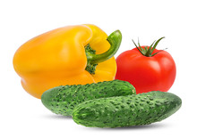 Fresh Vegetables Isolated On White Background With Clipping Path