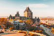 canvas print picture - Cityscape or skyline of Chateau Frontenac, Dufferin Terrace and Saint Lawrence river at overlook in old town