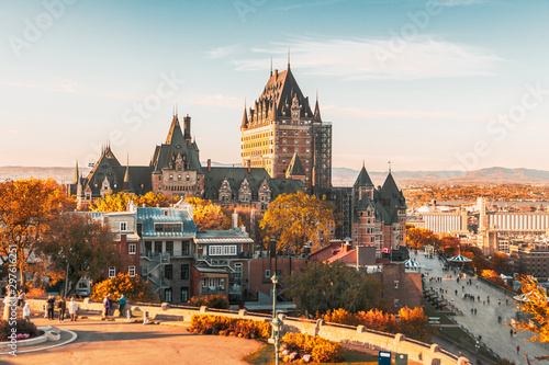 Cityscape or skyline of Chateau Frontenac, Dufferin Terrace and Saint Lawrence r Slika na platnu