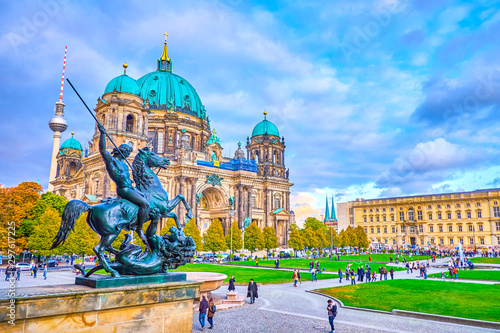 The view on Lustgarten park in Berlin, germany Canvas Print