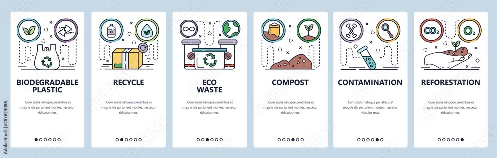 Fototapety, obrazy: Mobile app onboarding screens. Eco plastic bag, recycle waste, contamination, environment, reforestation. Vector banner template for website and mobile development. Web site design flat illustration
