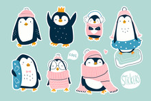 Hand Drawn Vector Set Of Cute Funny Various Penguins. Different Clothing, Various Poses. Colored Trendy Illustration. Flat Design. All Elements Are Isolated. Pre-made Stickers