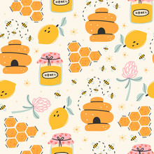 Set Of Cute Bees, Tasty Healthy Honey, Jars, Hive, Flower, Honeycomb. Colored Trendy Vector Illustration. Cartoon Style. Flat Design. Hand Drawn Seamless Pattern