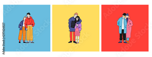 Street fashion look. Couples in love dressed in stylish trendy oversized clothing. Boys and girls. Korean japanese asian. Comic cartoon style. Manga anime. Hand drawn vector set of three illustrations - 297626827