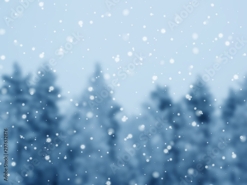 Autocollant pour porte Bleu jean winter landscape forest in snow frost with sunny light beams