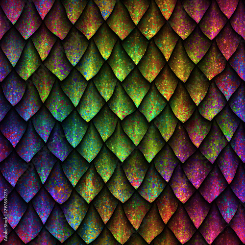 Foto op Aluminium Kunstmatig Seamless texture of dragon scales with colorful grunge pattern, reptile skin, 3d illustration