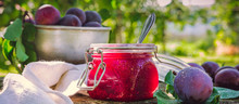 Glass Jar With Plum Jam Confit...