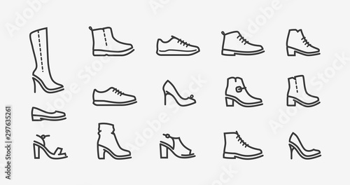 Photo Shoes icon set. Fashion, shoeshop concept. Vector illustration