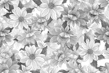 Floral Monochrome Seamless Pattern With Flowers Dahlias And Leaves. Black And White. For Textile, Wallpapers, Print, Greeting. Vector Illustration.