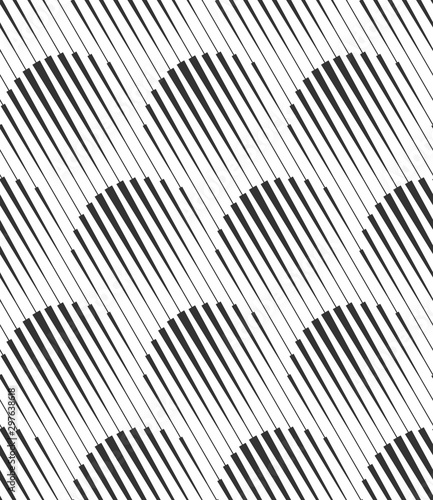 Vector geometric seamless pattern. Modern geometric background with circles made of stripes. - 297638618