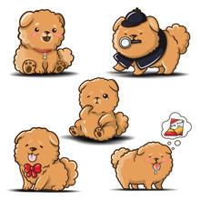 Set Cute Chowchow Dog Cartoon ...