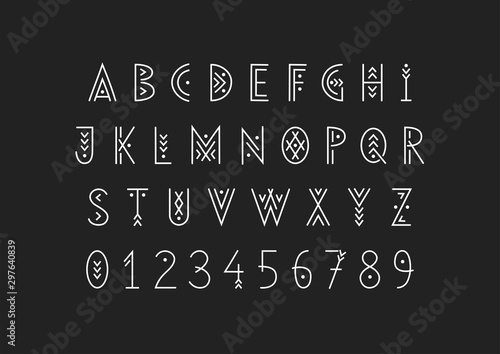 Fotografía Linear geometric uppercase font decorated with thin lines.
