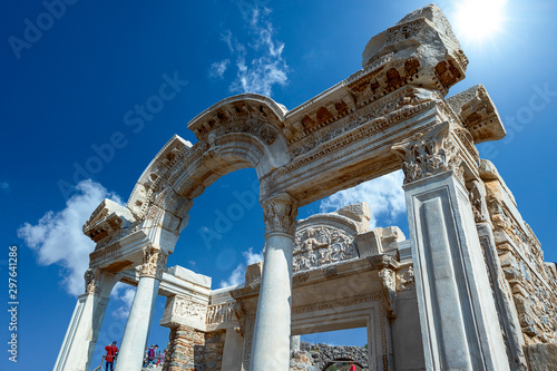 Staande foto Oude gebouw The ruins and ruins of the ancient city of Ephesus against the blue sky on a sunny day.