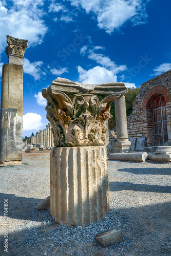 The ruins and ruins of the ancient city of Ephesus against the blue sky on a sunny day Canvas Print