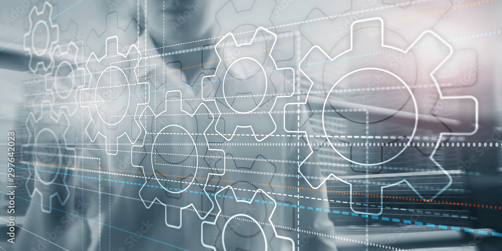 Fototapety, obrazy: Business technology internet concept double exposure gears abstract background