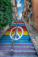 A Peace Sign On Colorful And Tall Steps In Izmir, Turkey