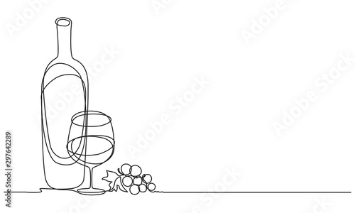 Wine glasses, a bottle of wine and grapes. Still life. Sketch. Draw a continuous line. Decor - 297642289