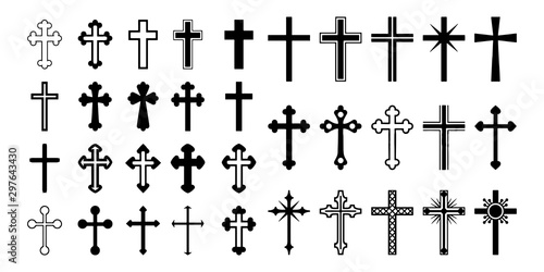 Set christian cross vector symbol flat and outline style Fototapete