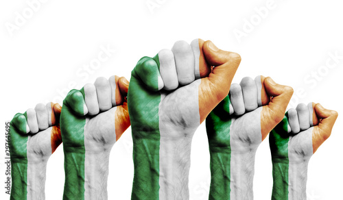 A raised fist of a protesters painted with the Ireland flag Canvas Print