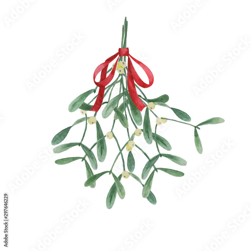 Obraz na plátně Christmas traditional watercolor hanging mistletoe bouquet with red bow isolated