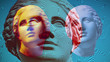 Contemporary art concept collage with antique statue head in a surreal style. Modern unusual art. Glitch effect, textured.