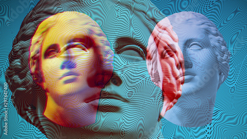Vászonkép Contemporary art concept collage with antique statue head in a surreal style