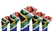 canvas print picture - A raised fist of a protesters painted with the South Africa flag