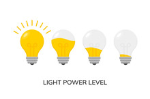 Vector Light Bulb Power Level Icon Isolated. Light Lamp Symbol Electric Concept