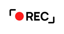 Recording Sign Icon. Red Logo Camera Video Recording Symbol, Rec Icon