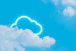 canvas print picture cloud storage icon with sky nature background in safety security technology network server online digital big data concept