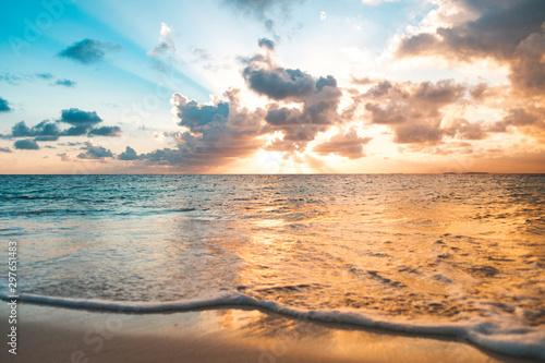 Montage in der Fensternische Dunkelbraun ocean, beach and colorful scenic sunset sky -
