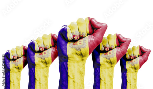A raised fist of a protesters painted with the Andorra flag Canvas Print