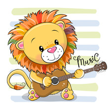 Cartoon Lion Is Playing Guitar