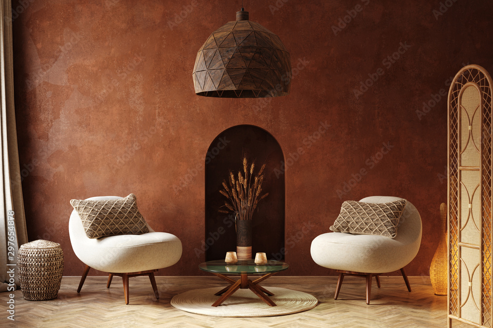 Fototapety, obrazy: Cozy home interior, luxury living room with natural wooden furniture, 3d render
