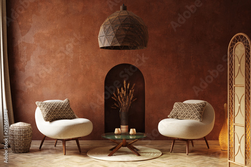 Cozy home interior, luxury living room with natural wooden furniture, 3d render