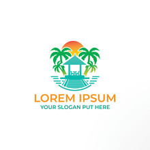 Creative & Modern Travel Beach Logo Design Template Vector Eps For Traveling Or Beach Property Company, Business Or Industry Purpose Ready To Use