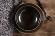 Empty brown bowl.