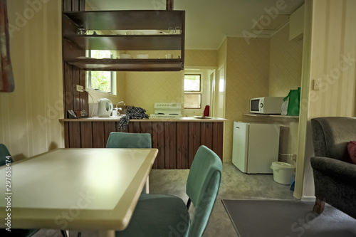 interior of a 70s-style home Canvas Print