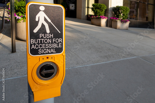 City crosswalk post button for the blind sign reads push button for accessible s Wallpaper Mural
