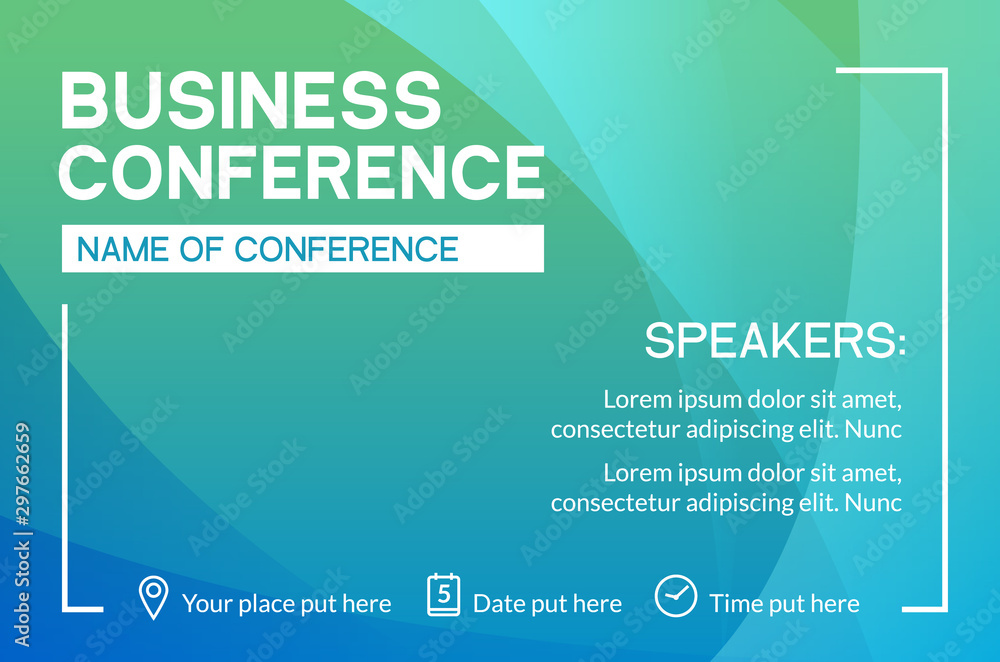Fototapeta Business conference simple template invitation. Geometric magazine conference or poster business meeting design banner