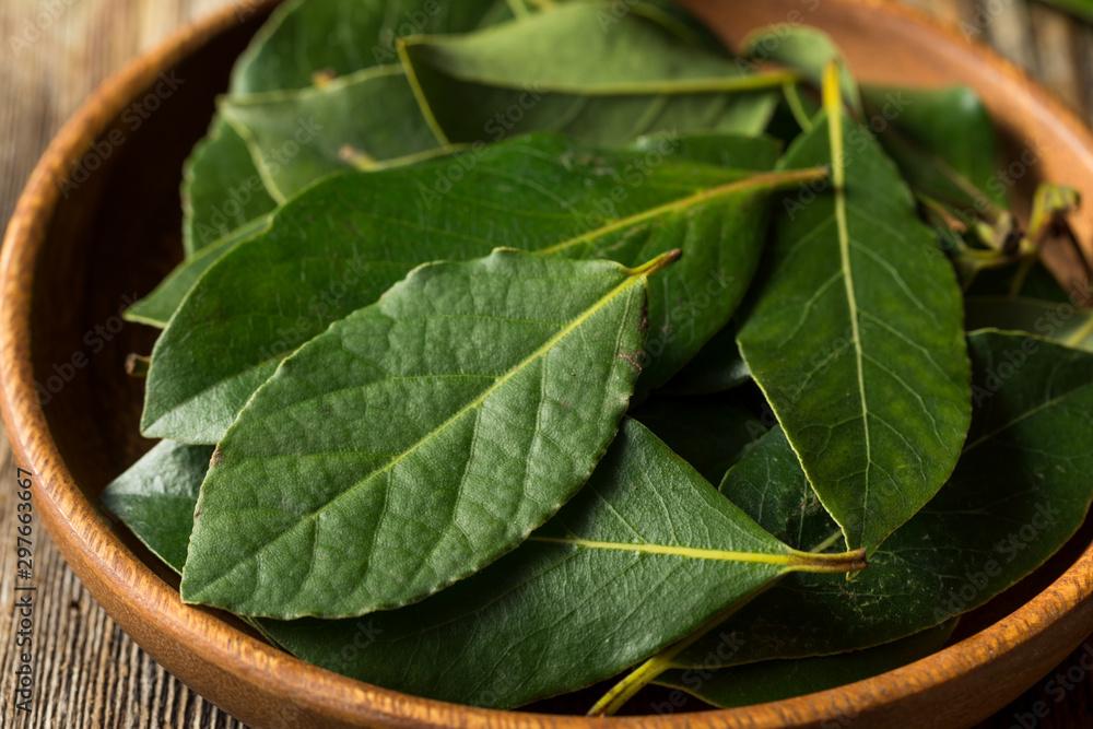 Fototapeta Raw Green Organic Bay Leaves