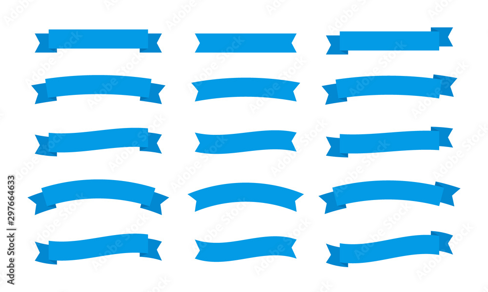 Fototapety, obrazy: Set different flat vector ribbons banners isolated on white background. Blue strips in origami style Vector illustration design