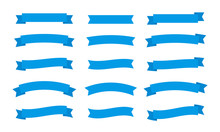 Set Different Flat Vector Ribbons Banners Isolated On White Background. Blue Strips In Origami Style Vector Illustration Design